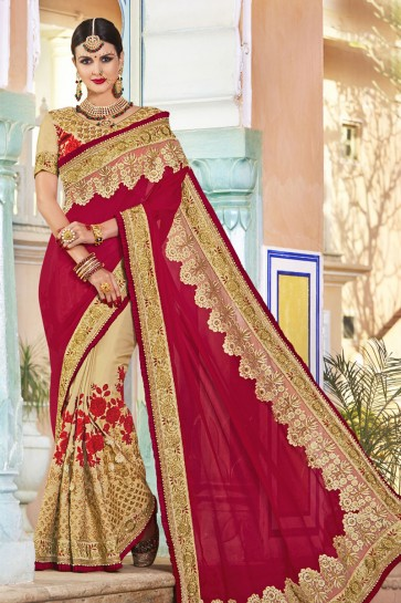 Desirable Red and Golden Net and Georgette Embroidered Wedding Saree With Banglori Silk Blouse
