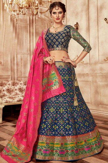 Charming Navy Blue Banarasi Silk Jaquard Work Work Lehenga Choli