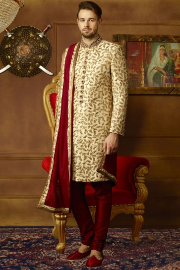 Lovely Golden Banarasi Silk Embroidered Work Sherwani
