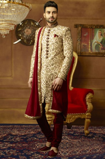 Admirable Golden Banarasi Silk Function Wear Designer Sherwani