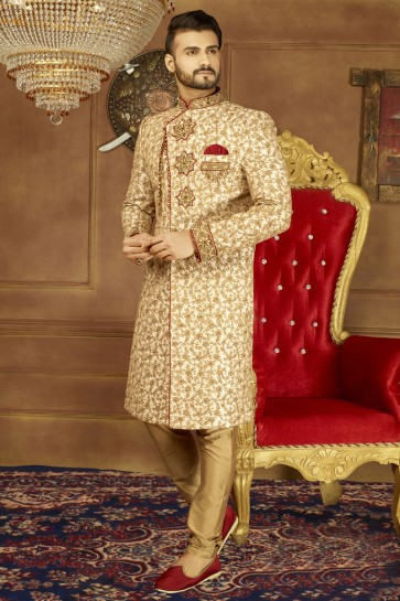 Stylish Golden Banarasi Silk Designer Sherwani