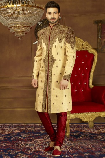 Pretty Golden Silk Embroidered Work Sherwani