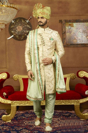 Desirable Cream Banarasi Silk Embroidered Work Sherwani