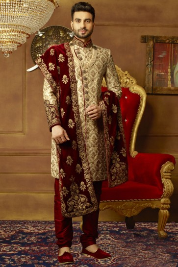 Classic Golden Banarasi Silk Embroidered Work Designer Sherwani