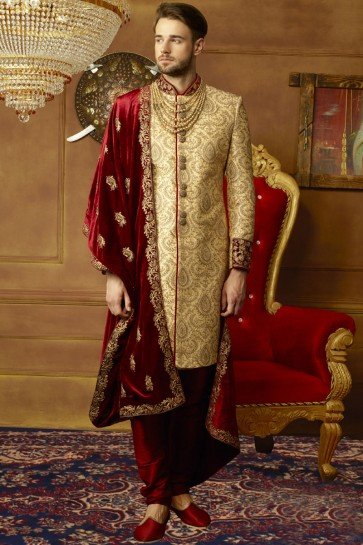 Pretty Golden Banarasi Silk Embroidered Work Sherwani