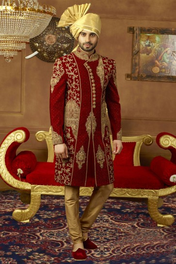 Supreme Maroon Velvet Embroidered Work Sherwani