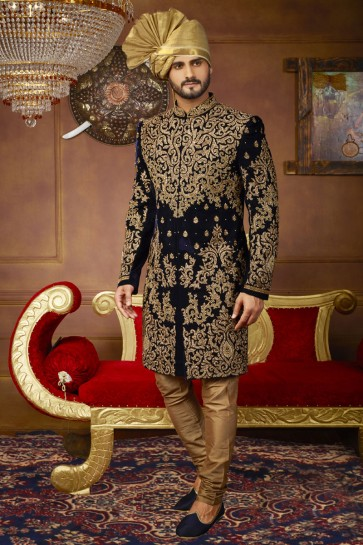 Supreme Navy Blue Velvet Embroidered Work Sherwani