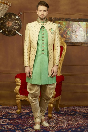 Beautiful Beige and Green Banarasi Silk Embroidered Work Sherwani