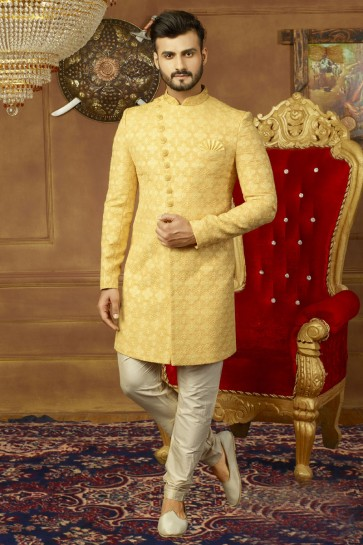 Gorgeous Yellow Banarasi Silk Embroidered Work Sherwani