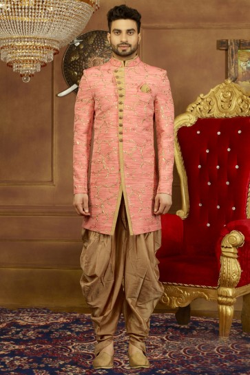 Optimum Pink Banarasi Silk Embroidered Work Sherwani