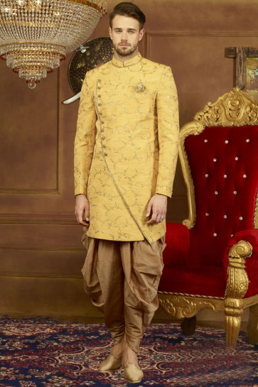 Graceful Yellow Banarasi Silk Function Wear Designer Sherwani