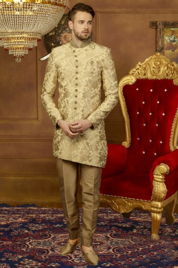 Lovely Golden Silk Function Wear Embroidered Work Sherwani