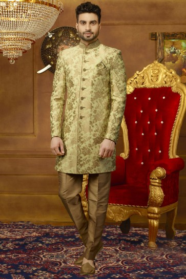 Classic Golden Silk Embroidered Designer Sherwani