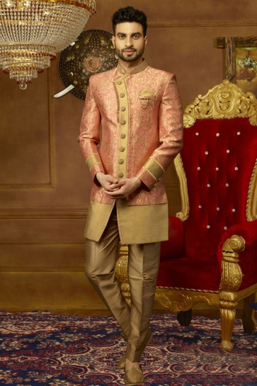 Admirable Peach and Golden Jacquard, Silk and Brocade Embroidered Designer Indo Western