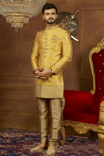 Stylsih Yellow Jacquard, Silk and Brocade Embroidered Designer Indo Western