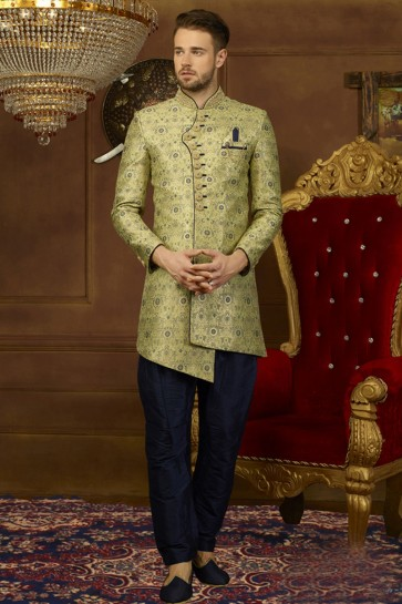 Charming Green Jacquard, Silk and Brocade Embroidered Indo Western