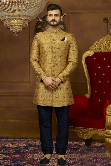 Ultimate Yellow Jacquard, Silk and Brocade Embroidered Designer Indo Western