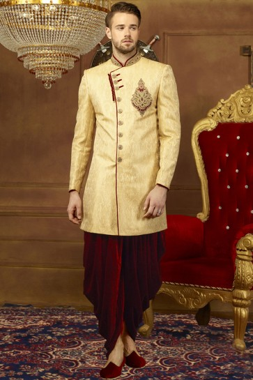 Admirable Golden Jacquard, Silk and Brocade Embroidered Designer Indo Western