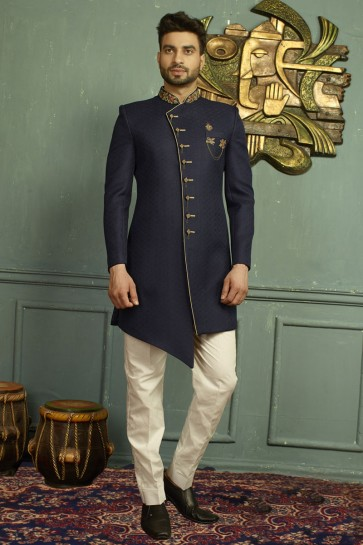 Classic Navy Blue Jacquard Embroidered Indo Western