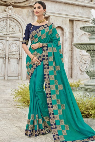 Classic Turquoise Silk Embroidered Party Wear Saree With Silk Blouse