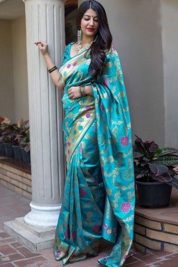 Desirable Sky Blue Banarasi Silk Jaquard Work Designer Saree With Banglori Silk Blouse