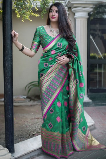 Optimum Green Banarasi Silk Jaquard Work Designer Saree With Banglori Silk Blouse