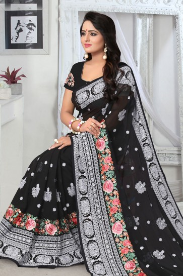 Excellent Black Georgette Embroidered Designer Saree With Georgette Blouse