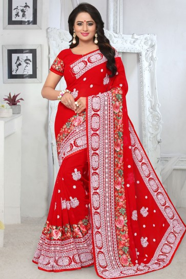 Gorgeous Red Georgette Embroidered Designer Saree With Georgette Blouse