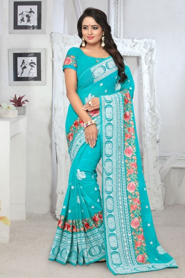 Admirable Sky Blue Georgette Embroidered Designer Saree With Georgette Blouse
