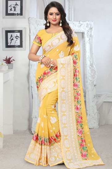 Desirable Yellow Georgette Embroidered Saree With Georgette Blouse