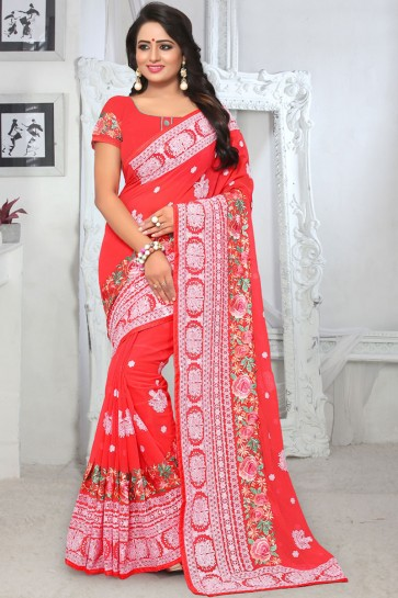 Pretty Red Georgette Embroidered Designer Saree With Georgette Blouse