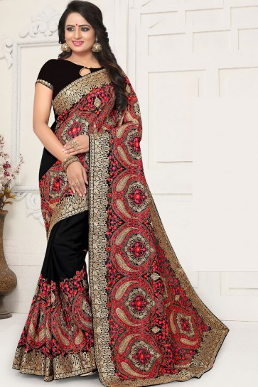 Supreme Black Georgette Embroidered Designer Saree With Georgette Blouse