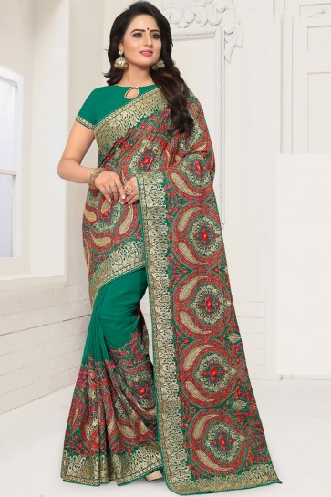 Desirable Green Georgette Embroidered Saree With Georgette Blouse