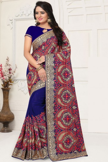 Stylish Blue Georgette Embroidered Designer Saree With Georgette Blouse