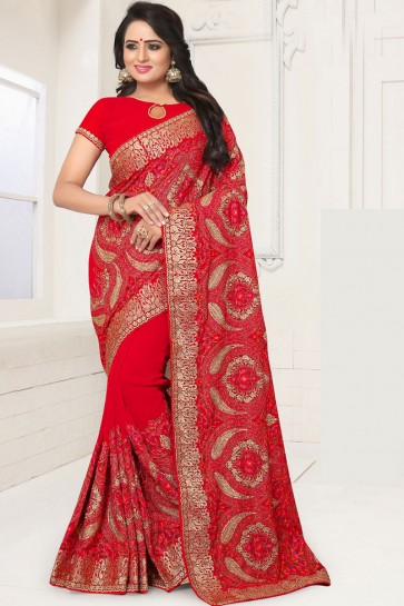 Ultimate Red Georgette Embroidered Designer Saree With Georgette Blouse