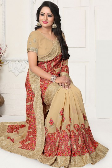 Classic Cream Georgette Embroidered Designer Saree With Georgette Blouse