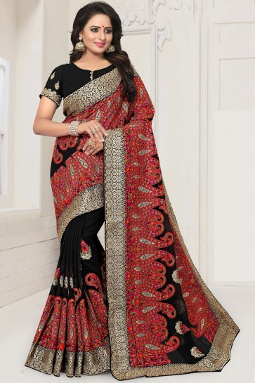 Charming Black Georgette Embroidered Designer Saree With Georgette Blouse