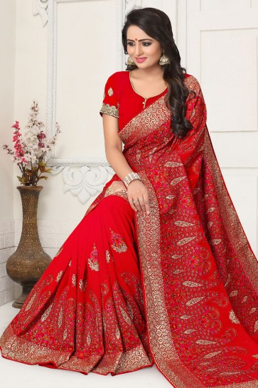Lovely Red Georgette Embroidered Saree With Georgette Blouse
