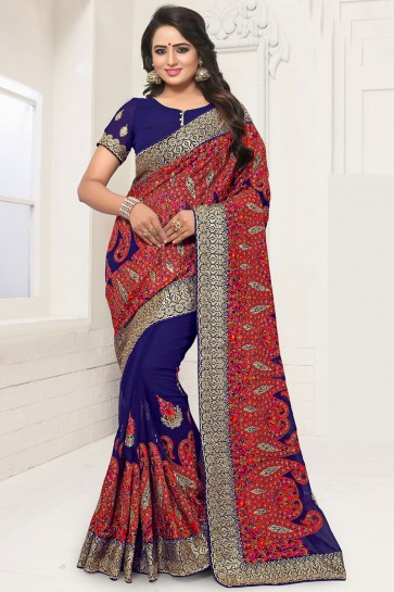 Pretty Blue Georgette Embroidered Designer Saree With Georgette Blouse