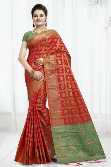 Lovely Red Designer Banarasi Silk Jaquard Work Saree With Banarasi Silk Blouse