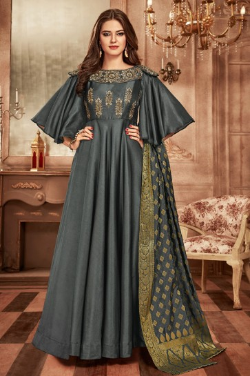 Charming Grey Tapeta Embroidered Designer Gown