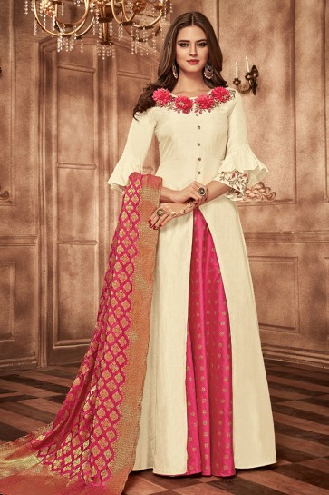 Admirable Off White Tapeta Embroidered Long Length Designer Gown