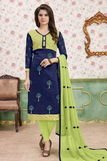 Lovely Navy Blue and Green Cotton Embroidered Designer Casual Salwar Suit With Nazmin Dupatta