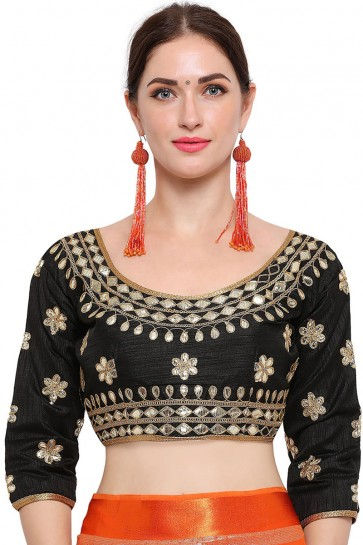 Excellent Black Banglori Silk Embroidered Blouse