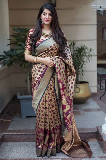 Gorgeous Maroon and Cream Banarasi Silk Printed Designer Saree With Banarasi Silk Blouse