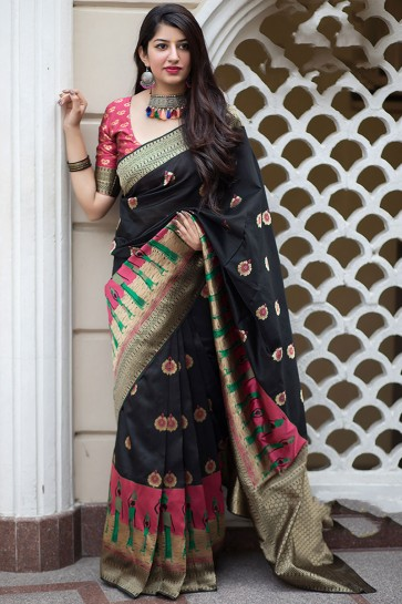 Beautiful Black Banarasi Silk Printed Designer Saree With Banarasi Silk Blouse