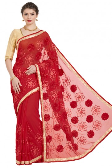 Lovely Red Georgette Embroidered Casual Saree With Bnaglori Silk Blouse