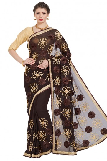 Beautiful Brown Georgette Embroidered Casual Saree With Bnaglori Silk Blouse