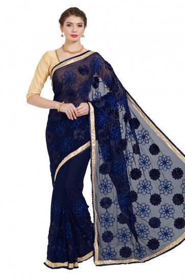 Ultimate Navy Blue Georgette Embroidered Casual Saree With Bnaglori Silk Blouse