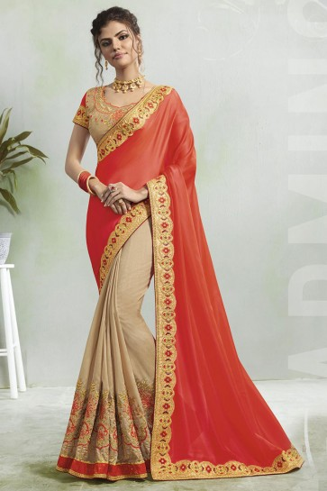 Beautiful  Peach and Cream Georgette Embroidered Saree With Silk Blouse